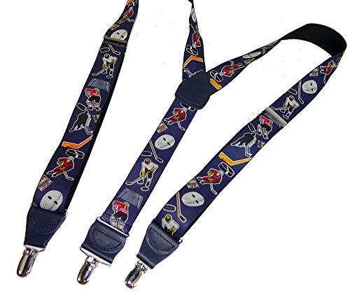 Hold-Ups Slap Shot Hockey Pattern Y-back Holdup Suspenders Silver Clips