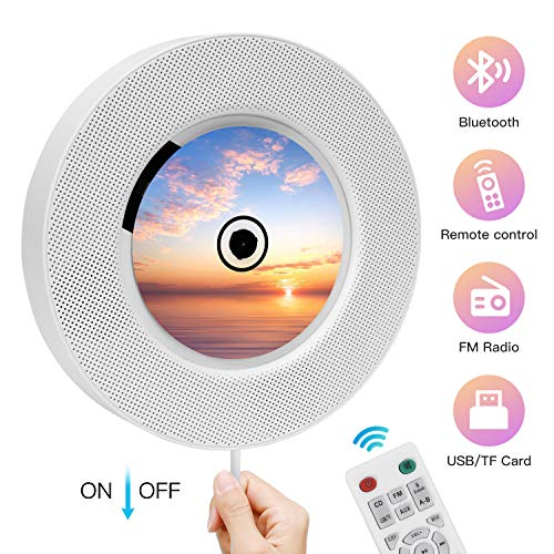 Portable CD Player with Bluetooth, Ranipobo Wall Mountable Music Player with Remote Control, Built-in Hi-fi Speaker Supports FM Radio TF Card 3.5mm Jack AUX Input/Output - 2020 Upgraded