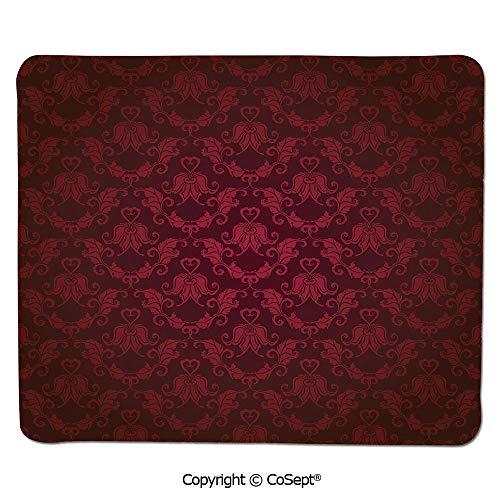 - Premium-Textured Mouse pad,Victorian Damask Pattern with Vignette Effect Royal Revival Ancient Rich Motifs Decorative,for Laptop,Computer & PC (7.87