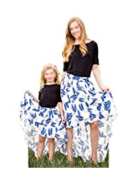 Teetyesy Mother Daughter Matching Dress Mommy and Me Floral Print High Low Hem 2Pcs Skirt Set