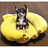 Generic Cotton Banana Style Puppy Sofa Cushion Bed for Pets Dogs Yellow