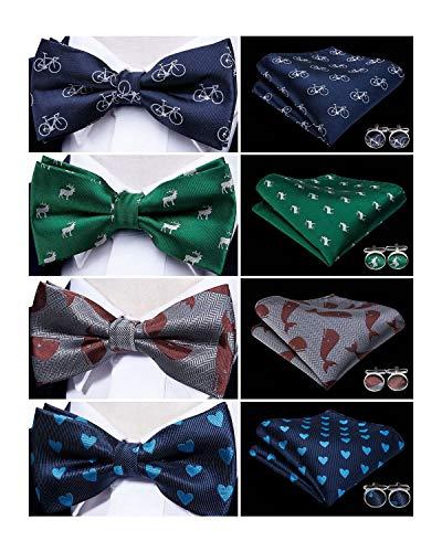 YOHOWA Mens Bow Tie Set 4PCS Pretied Bow Tie Lot with Hanky Cufflinks (Novelty Set)