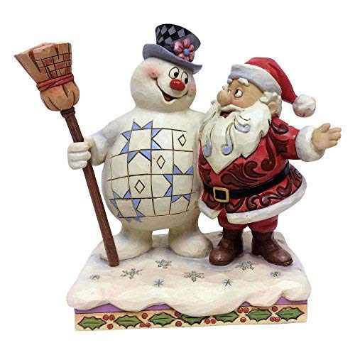 Department56 Enesco Snowman by Jim Shore Frosty and Santa Hugging, Multi Color