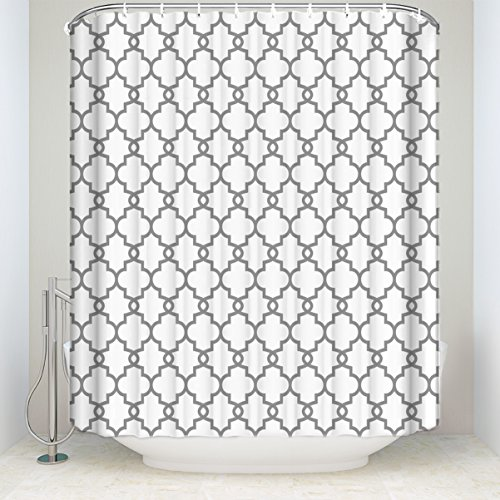 Geometric Patterned Waterproof 100% Polyester Fabric Long Shower Curtain for Bathroom 72