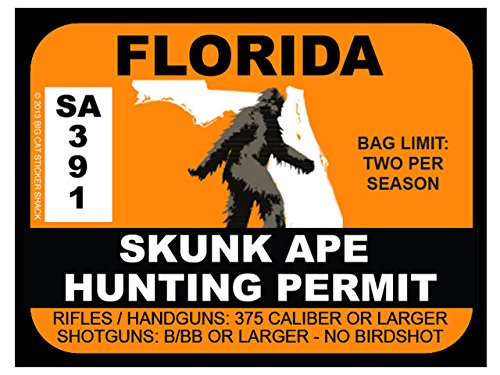 Skunk Ape Hunting Permit - Florida (Bumper Sticker)