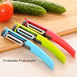 Tim Hawk Tri-Blades Rotary Peeler Fruit Vegetable Tools For Cooking Grater Slicer ,Pack Of 1 ,(Colour May Vary)