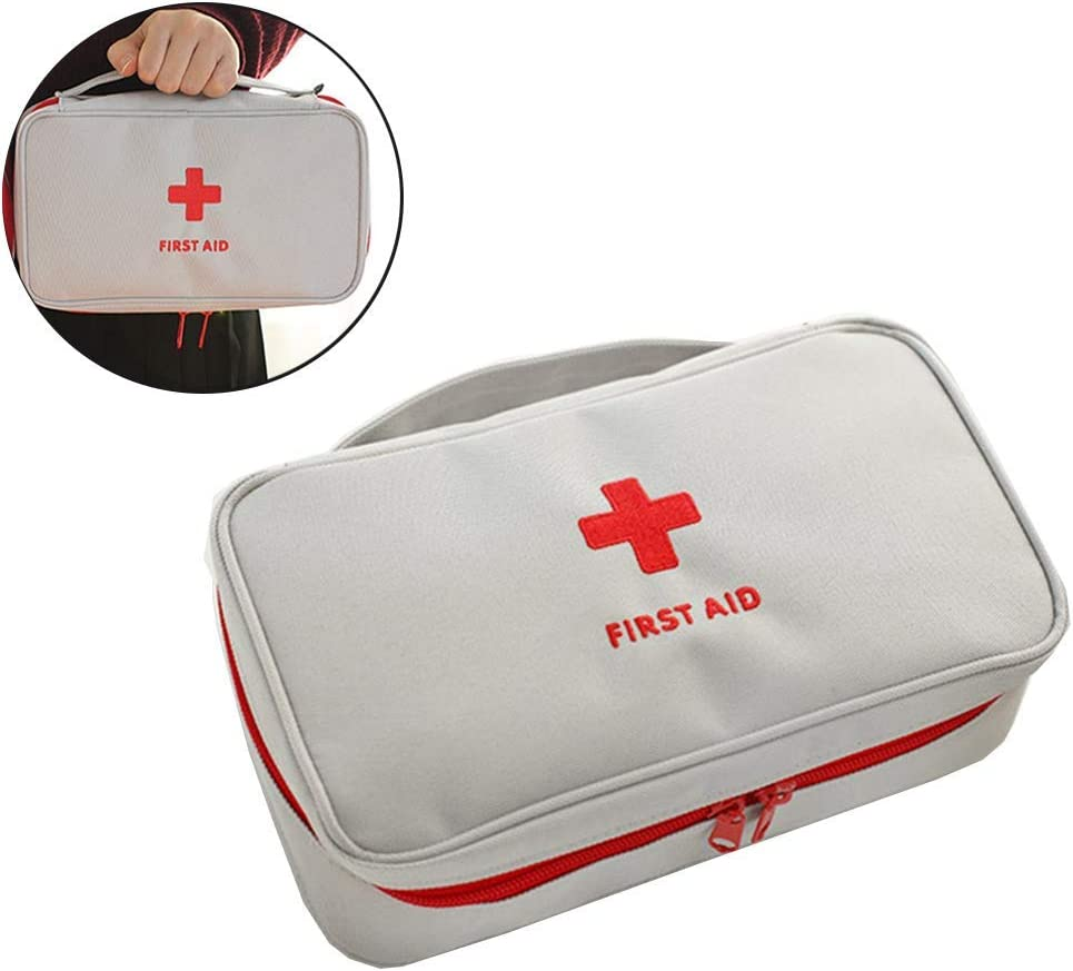 iMapo First Aid Kit Empty, Portable Medical Bag Travel Medicine Organizer Pouch with Handle, Waterproof Package Container for Home, Office, Sports, Car, Outdoor, Camping - Gray (Bag Only)