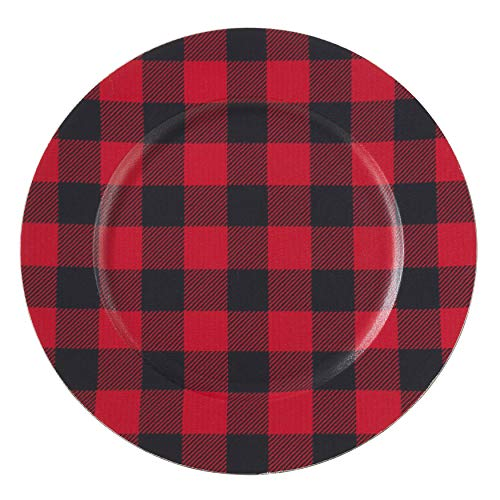 SARO LIFESTYLE CH801.R14R Collection Red Buffalo Plaid Charger Plates (Set of 4), 14