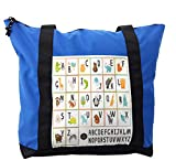 Lunarable ABC Kids Shoulder Bag, Owl Cat Panda in Squares, Durable with Zipper