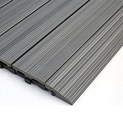 NewTechWood QD-SF-LG QuickDeck Composite Deck Tile Side Trim, 2-Inch x 1-Feet, Westminster Gray, 4-Piece