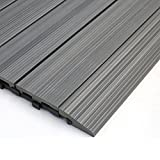 NewTechWood QD-SF-LG QuickDeck Composite Deck Tile Side Trim, 2-Inch x 1-Feet, Westminster Gray, 4-Piece