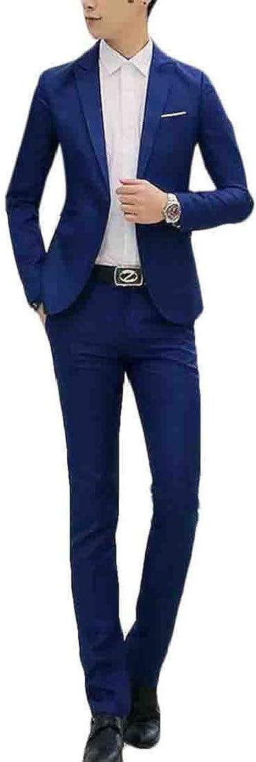 UUYUK Men 2 Piece Outfits Slim Solid Casual Lapel 2 Piece Suit Set