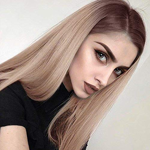 ENTRANCED STYLES Blonde Ombre Wig for Women Long Straight Wigs Brown Roots Middle Parting Heat Resistant Synthetic Fiber Daily Wig]()