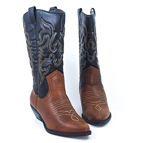 Soda Women's Red Reno Western Cowboy Pointed Toe Knee High Pull On Tabs Boots,Color:TanBlackA, - Women Reno In