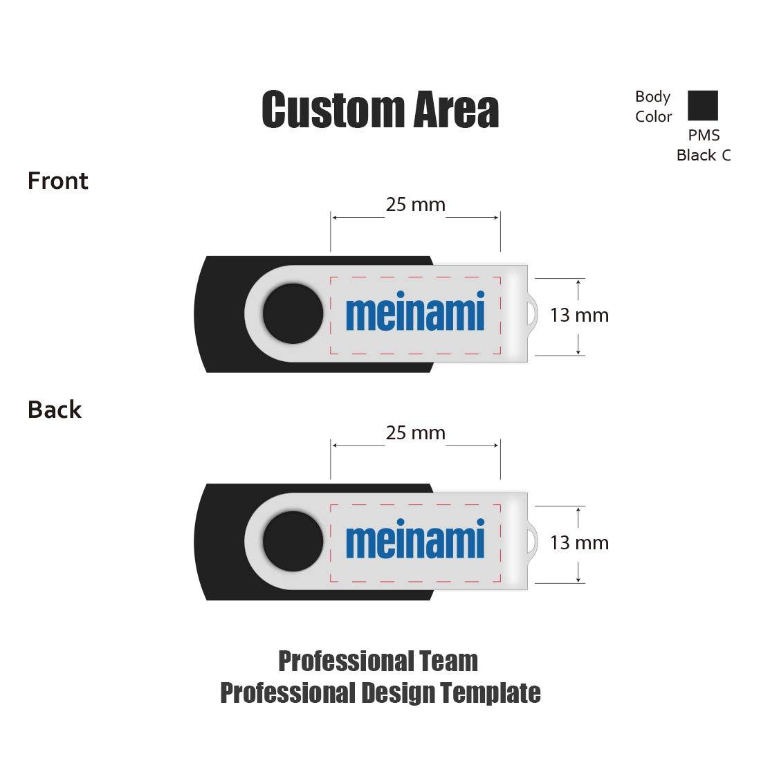 100 Pack 4GB USB Flash Drive Custom USB Thumb Drive Promotional Memory Stick Personalized Logo Jump Drive Twister Swivel Design in Bulk - PMS by MEINAMI (Image #4)
