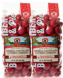 Cherry Republic Imperial Chocolate Cherries - Authentic & Fresh Imperial Chocolate Covered Cherries Straight from Michigan - Milk Chocolate & Red Cherry Chocolate - 2 x 16 Ounces