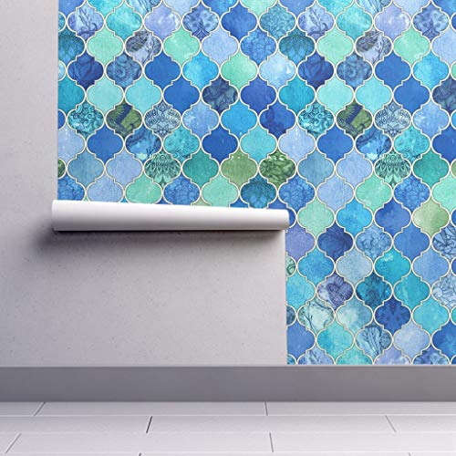 Removable Water-Activated Wallpaper - Blue Moroccan Moroccan Moroccan Cobalt Patchwork Ogee Watercolor Le Feuvre by Micklyn - 12in x 24in Smooth Textured Water-Activated Wallpaper Test Swatch