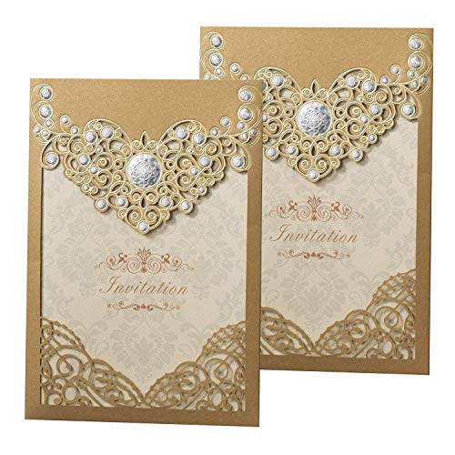 50PCS Laser Cut Bronzing Wedding Invitation Cards Hollow Favors Invitation Cardstock for Engagement Birthday Graduation Baby Shower ()