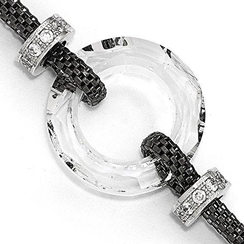 """Argent Sterling plaqué Bracelet en cristal noir avec 1 """"extrait 6,5 cm-JewelryWeb"""