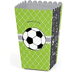 Big Dot of Happiness Personalized GOAAAL! - Soccer - Custom Baby Shower or Birthday Party Favor Popcorn Treat Boxes - Custom Text - Set of 12