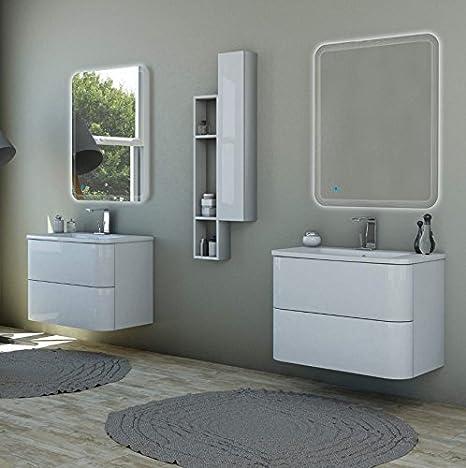Mobile bagno sospeso moderno Angie sospeso bianco lucido, misura cm ...