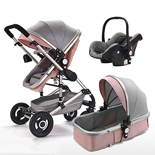 TIKENBST Baby Stroller 3 in 1 High Landscape Multifunctional Pram Portable Foldable Pushchair,Pink