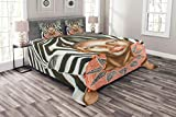 Lunarable Country Bedspread Set Queen Size, African Woman with Zebra Spirit Animal Mother Nature Themed Artistic Image, Decorative Quilted 3 Piece Coverlet Set with 2 Pillow Shams, Orange Pale Caramel