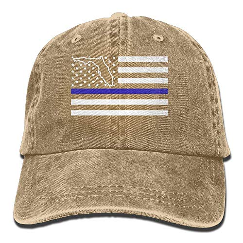Yuan Kun Adjustable Denim Jeans Baseball Cap Florida Thin Blue Line Police Snapback Cap -