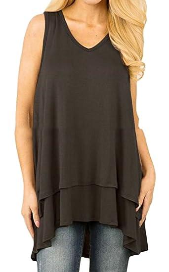 8d6aff521587d7 UUYUK-Women V Neck Sleeveless Blouse Layered Plus Tank Top at Amazon  Women s Clothing store