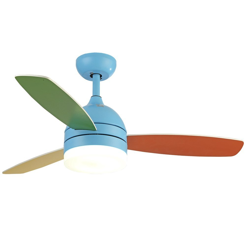 Andersonlight Children Ceiling Fan LED Light Kit 3 Acrylic Blades Remote Control Variable Speed Copper Mute Motor Metal Spray paint Finish Pink 42 inch (blue) by Andersonlight (Image #5)