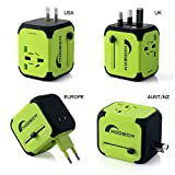 MOOBOM Universal Travel Power Adapter All-in-one Worldwide Travel Chargers with 2.4A Dual USB Charger Wall Adapters for US EU UK AU Europe & Asia,Built-in Spare Fuse AC Wall Outlet Plugs (Green)