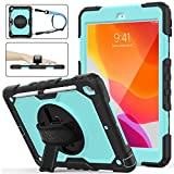 iPad 7th Generation Case - New iPad 10.2 Case [Full-Body] & [Shock Proof] Hybrid Armor Protective Case with 360 Rotating Stand & Strap for 10.2 New iPad 7th Generation 2019 (SkyBlue+Black)