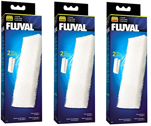 ((3 Pack) Fluval Filter Foam Block 204/205 and 304/305, 2 Blocks)