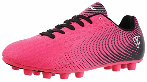 Vizari Unisex-Kids Stealth FG Size Soccer-Shoes, Pink/Black, 3.5 Wide US Big Kid - Outdoor Soccer Cleats Youth