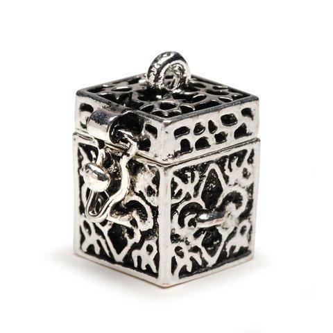 Bulk Buy: Darice DIY Crafts Charm Prayer Box Fleur de Lis Antiqued Silver (3-Pack) BG2029 Antiqued Prayer Box Charm