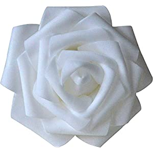 Lightingsky 8cm Real Touch Artificial Rose Head, DIY 3D Artificial Flowers for Wedding Bouquets, Room Decoration (100, White) 5