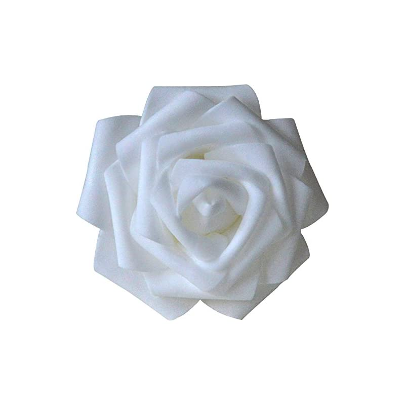 silk flower arrangements lightingsky 8cm real touch artificial rose head, diy 3d artificial flowers for wedding bouquets, room decoration (100, white)