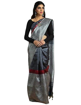 Craftsvilla Womens Silk Blend Printed Traditional Grey And Black