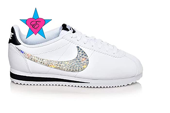 8998e6850af0c5 ... best price custom white crystal blinged womens nike classic cortez  leather sneakers 5cdfb bca3e