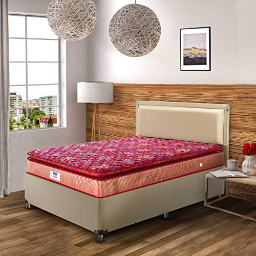 Peps Springkoil Bonnell Pillow Top 8 inch Super King Size Spring Mattress  Maroon, 84x72x08