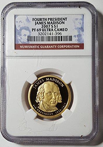 2007 S James Madison Golden Presidential Dollar PF 69 Ultra Cameo NGC (Dollars Presidential Golden)