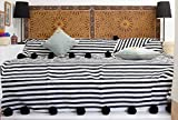 Moroccan Pom Pom Blanket Throw Bedspread, Hand Woven with 100% quality COTTON, All Year Round Bedding, Pearl White and Black Stripes. (BC4B)