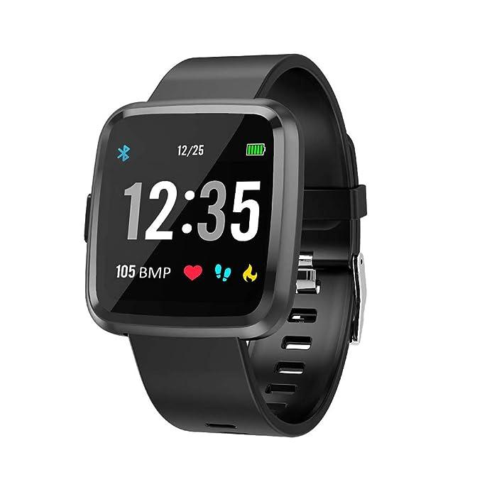 Semaco Smartwatch con Pulsómetro,Impermeable IP67 Reloj Inteligente con Cronómetro, Monitor de sueño,Podómetro,Calendario,Control Remoto de música,Pulsera Actividad para Android y iOS (Negro)