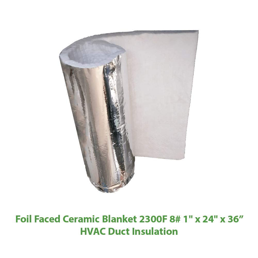 Foil Faced Ceramic Blanket (2300F 8#) (1'' X 24'' x 36'') for HVAC Duct Insulation