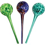 Wyndham House 3-piece Watering Globe Set, Colorful Hand-Blown Glass Plant Watering System