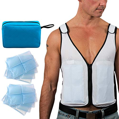 Ultimate Cooling Vest | Ice Vest - 8 x Body Ice Packs for Double Cooling Time - #1 Ice Cooling Vest for MS - Sport - Motorcycle - Cooking - Mascot - Cosplay Adjustable Cooling Shirt