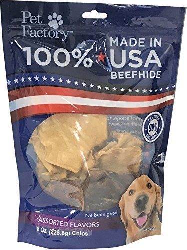 - Pet Factory 78149 Beefhide Dog Chews, 99% Digestible Rawhide Treats, 100% Natural Rawhide Chips, Assorted Flavors (Beef & Chicken) 8 oz Resealable Package, Made in USA