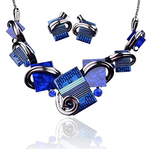 Ginasy Vintage Costume Jewelry Acrylic Resin Charm Stone Necklace Earring Set Jewelry Set (Necklace and Earring Set Navy Blue)