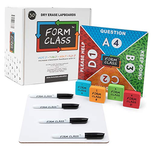 FORM CLASS Mini Dry Erase Boards, Set of 30, Double Sided with Multiple Colors, for Students, Classrooms - Durable, Personal Lapboards with Erasers for Kids - Premium Classroom Supplies for Teachers (Instant Literacy Center)