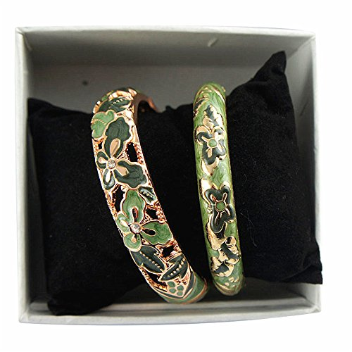 - UJOY Vintage Jewelry Cloisonne Handcrafted Enameled Butterfly Gorgeous Rhinestone Gold Hinged Cuff Bracelet Bangles Gifts 88A09 Green